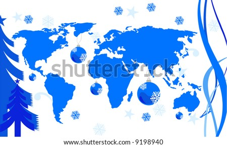 world map with winter concept.Map from: http://www.lib.utexas.edu/maps/world_maps/world_pol02.jpg copyright: http://www.lib.utexas.edu/maps/faq.html#3.html - stock vector