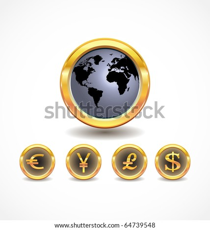 world map with world currency icons - stock vector