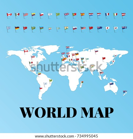 World map world flags icon vector stock vector hd royalty free world map with world flags icon vector illustration and azerbaijan flag baku design gumiabroncs Choice Image