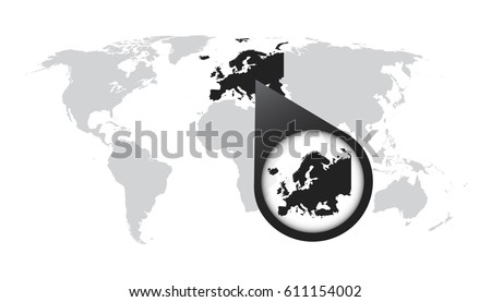 World map zoom on europe map vector de stock611154002 shutterstock world map with zoom on europe map in loupe vector illustration in flat style gumiabroncs Choice Image