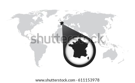 World map zoom on france map vector de stock611153978 shutterstock world map with zoom on france map in loupe vector illustration in flat style gumiabroncs Image collections
