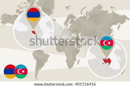 World map zoom on Azerbaijan, Armenia. Conflict, Nagorno-Karabakh War. Azerbaijan map with flag. Armenia map with flag. Vector Illustration. - stock vector