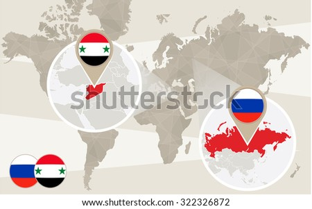 World map zoom on Syria, Russia. Conflict. Vector Illustration. - stock vector