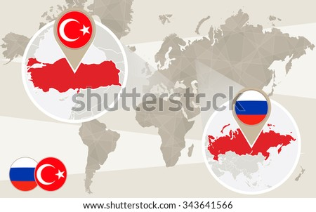 World map zoom on Turkey, Russia. Conflict. Turkey map with flag. Russia map with flag. Vector Illustration. - stock vector