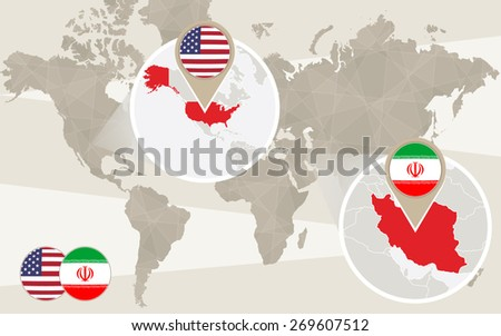 World map zoom on USA, Iran. Vector Illustration. - stock vector