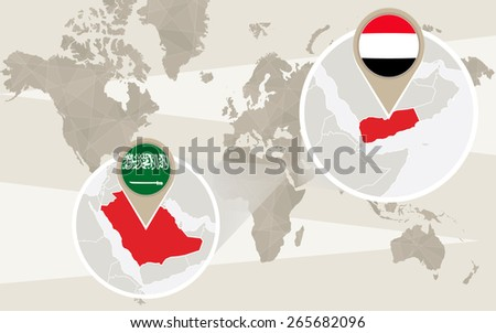 World map zoom on Yemen, Saudi Arabia. Conflict. Vector Illustration. - stock vector