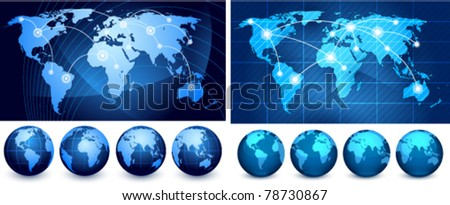 world maps and globes on a white background The base map is from http://www.lib.utexas.edu/maps/world_maps/txu-oclc-264266980-world_pol_2008-2.jpg - stock vector