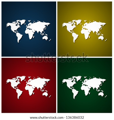 World maps with colorful backgrounds - stock vector