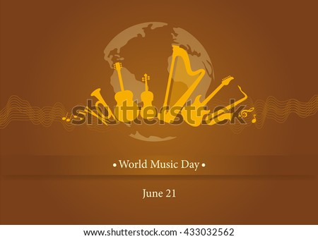 World music day vector. Vector illustration music day. Brown background with music. Important day - stock vector
