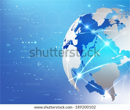 World network communication and technology background, vector illustration - stock vector