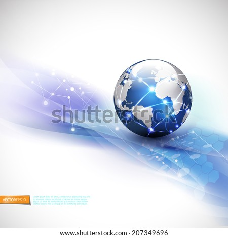World network communication and technology concept motion flow background, vector illustration - stock vector