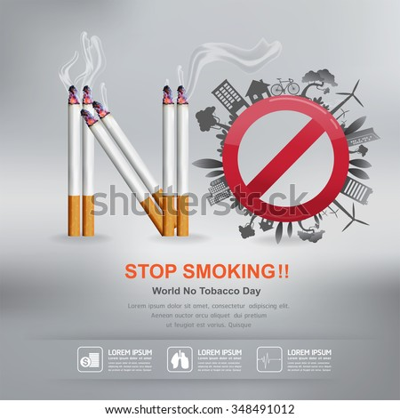 World No Tobacco Day Vector Concept Stop Smoking - stock vector
