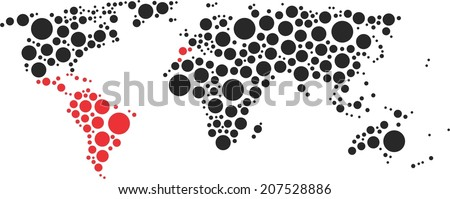 World of circles (South America) Latin America, Latin World - stock vector