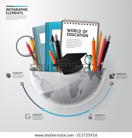World of education concept infographics. Vector illustration. can be used for workflow layout, banner, diagram - stock vector