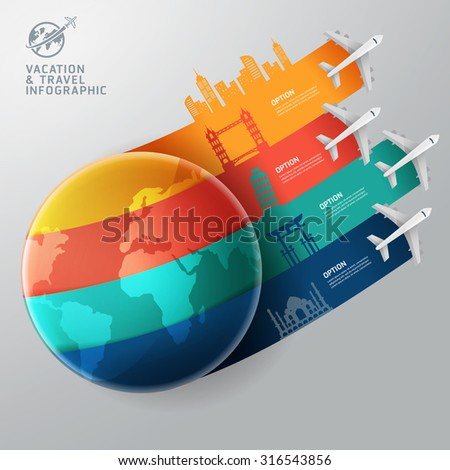 World of travel and vacation infographics concept - stock vector