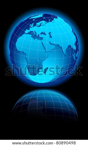 WORLD on a black background Middle East, Africa, Europe and India
