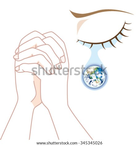 World Peace - Praying in Tears - stock vector