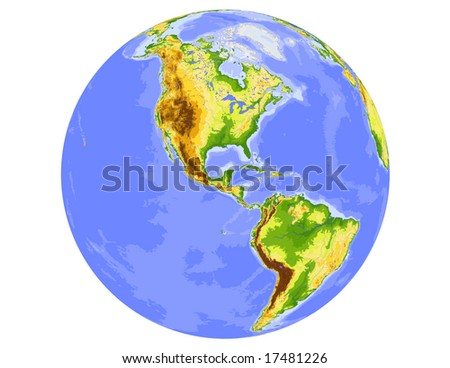 World physical vector map, centered on America, colored according to elevation,  with rivers and ocean depths, 19 layers, fully editable. Data source: NASA - stock vector