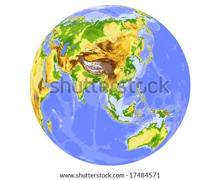 World physical vector map, centered on Asia, colored according to elevation,  with rivers and ocean depths, 20 layers, fully editable. Data source: NASA - stock vector