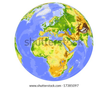 World physical vector map, centered on Europe, colored according to elevation,  with rivers and ocean depths, 20 layers, fully editable. Data source: NASA - stock vector