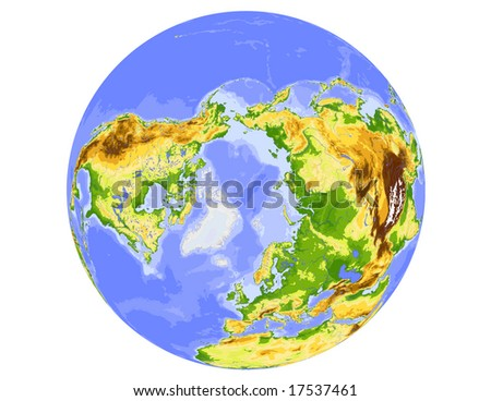 World physical vector map, centered on the North Pole, colored according to elevation,  with rivers and ocean depths, 20 layers, fully editable. Data source: NASA - stock vector