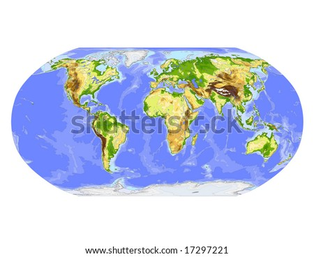 World physical vector map. Robinson projection, centered on Africa, colored according to elevation,  with contour lines, rivers and ocean depths, 22 layers, fully editable. Data source: NASA - stock vector