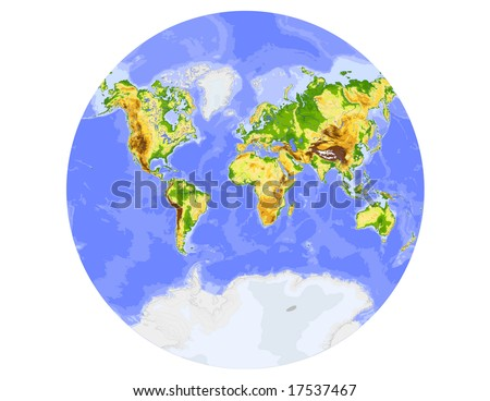 World physical vector map, showing the whole world in a circle. Colored according to elevation,  with rivers and ocean depths, 20 layers, fully editable. Data source: NASA - stock vector