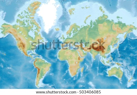 World physical vector map stylized using stock photo photo vector world physical vector map stylized using hexagons colored according to relief gumiabroncs Images