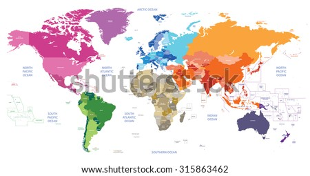 world political map colored by continents - stock vector