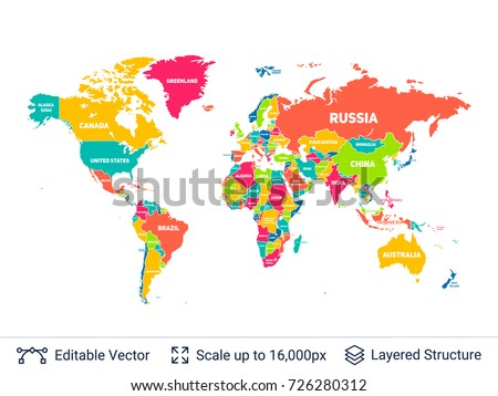 World map names countries vector illustration vectores en stock world political map continental shapes and national borders vector template easy to edit gumiabroncs Images