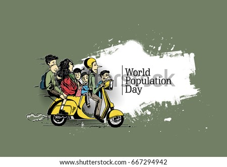 World population day 11 July, Hand Drawn Sketch Vector illustration.