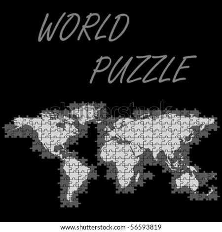 world puzzle map, abstract vector art illustration - stock vector
