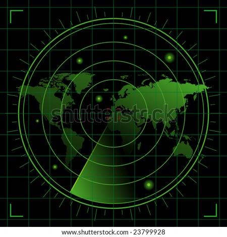 world radar - stock vector