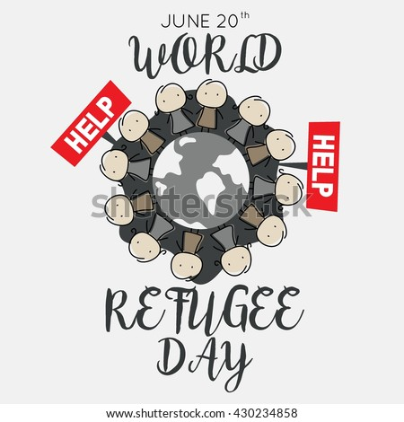 World Refugee Day Campaign Poster Refugee Stock Photo (Photo, Vector ...