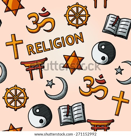 World religion hand drawn seamless pattern with - christian, Jewish, Islam, Buddhism, Hinduism, Taoism, Shinto, and book as symbol of doctrine. - stock vector