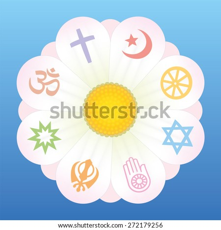 World religion symbols on petals of a flower as a symbol for religious solidarity and coherence - Christianity, Islam, Buddhism, Judaism, Jainism, Sikhism, Bahai, Hinduism. Vector on blue background. - stock vector