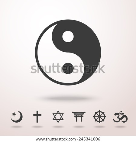 World religion symbols set with - christian, Jewish, Islam, Buddhism, Hinduism, Taoism, Shinto. - stock vector