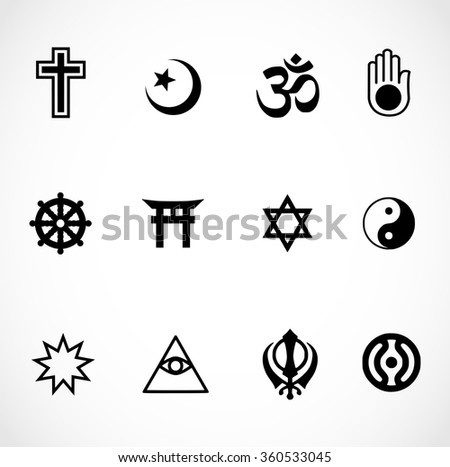 World Religions Signs Icon Set Vector Stock Vector 360533045