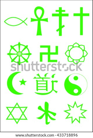 World religions - symbols of christianity, islam, hinduism, buddhism, taoism and others. Green. - stock vector