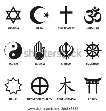 world religious sign and symbols collection, isolated on white background. vector illustration - stock vector