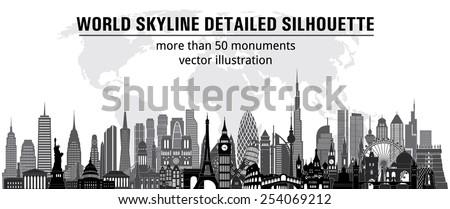 World skyline detailed silhouette. Vector illustration - stock vector