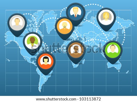World social network scheme on the map of earth - stock vector
