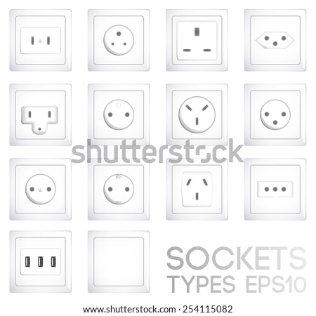 World socket types collection. Realistic illustration, EPS10. - stock vector