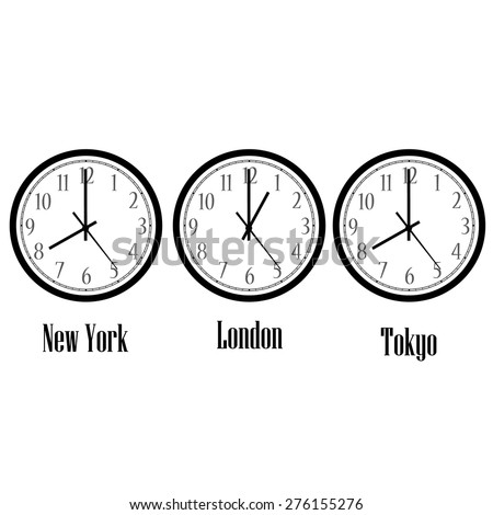 World time clocks New York, London and Tokyo. Clock on wall vector isolated - stock vector