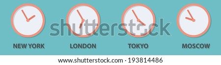 World time zone clock in New York, London, Tokyo, Moscow - stock vector