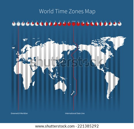 World Time Zones Map on blue background - stock vector