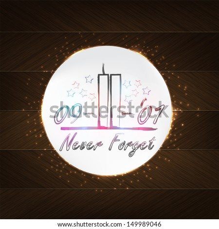 World Trade Center Typography - wood background in retro style with date and label. (EPS 10 Vector) - stock vector