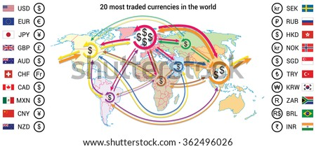 World trade currents map with 20 most traded currencies. Currency symbol and flag included. - stock vector