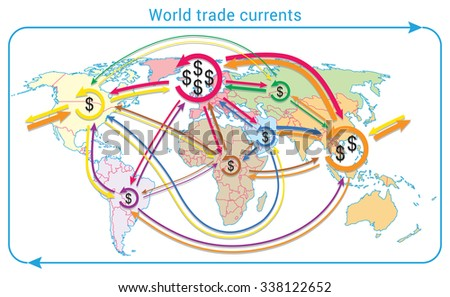 World trade currents. Movement of global finances on world map. Map is based on WTO data. - stock vector