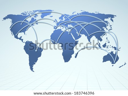 World trade logistics commercial streams. Vector illustration - stock vector